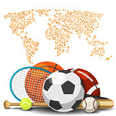 World sport deportes concept. Sports equipment with map background