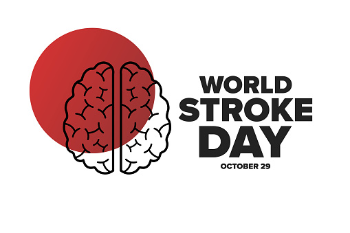 World Stroke Day. October 29. Holiday concept. Template for background, banner, card, poster with text inscription. Vector EPS10 illustration.