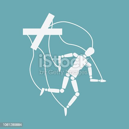 World Suicide Prevention Day concept. broken puppet . vector illustration - eps 10