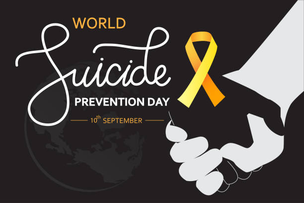 World Suicide Prevention Day concept with awareness ribbon. Dark vector illustration for web and printing. World Suicide Prevention Day concept with awareness ribbon. Dark vector illustration for web and printing. suicide stock illustrations