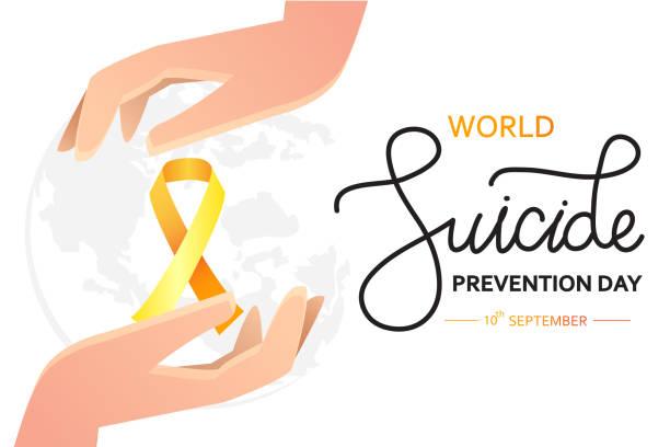 stockillustraties, clipart, cartoons en iconen met wereld zelfmoordpreventie dag concept met bewustzijn lint. vector illustratie voor web, campagne en afdrukken. - zelfmoord