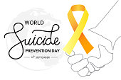 World Suicide Prevention Day concept with awareness ribbon. Dark vector illustration for web and printing.