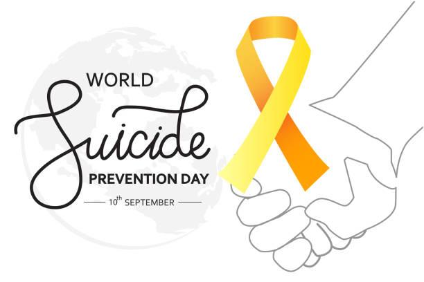 stockillustraties, clipart, cartoons en iconen met wereld zelfmoordpreventie dag concept met bewustzijn lint. witte achtergrond vector illustratie voor web en afdrukken. - zelfmoord