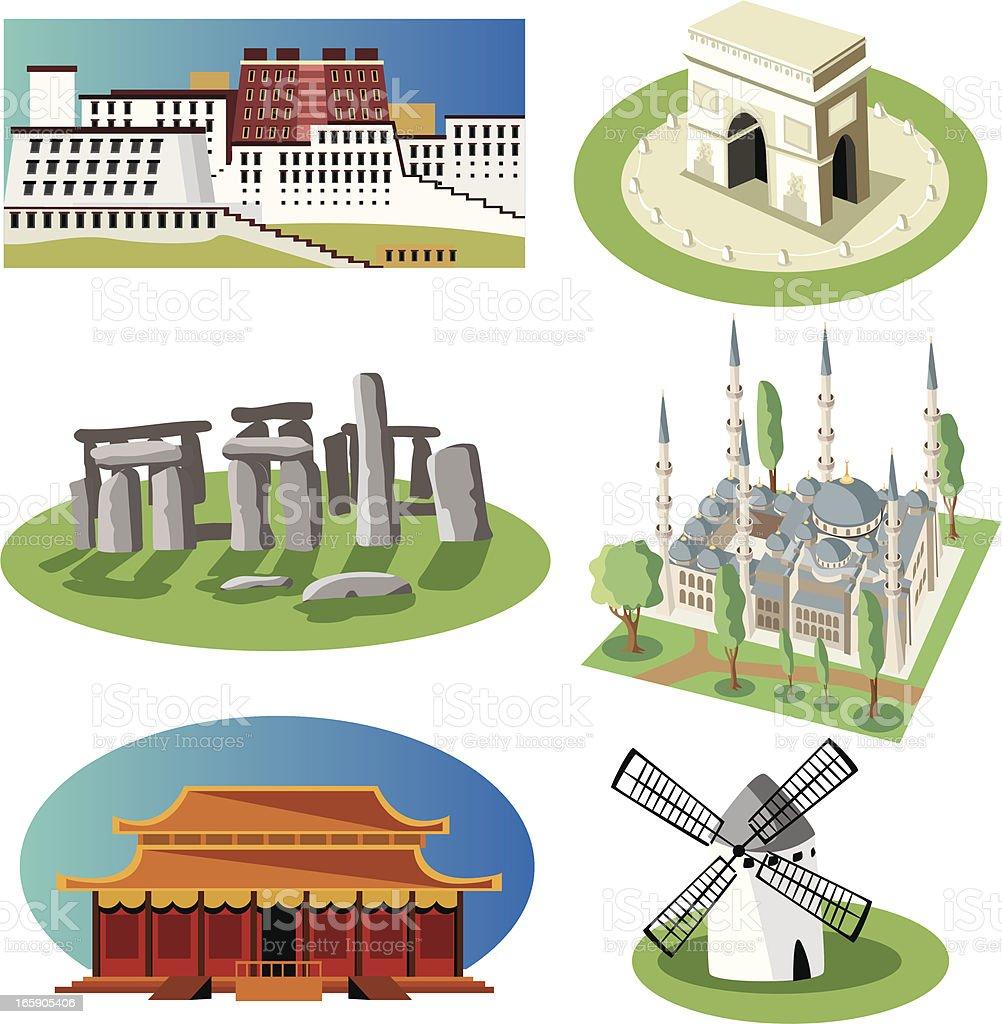 World symbol set vector art illustration