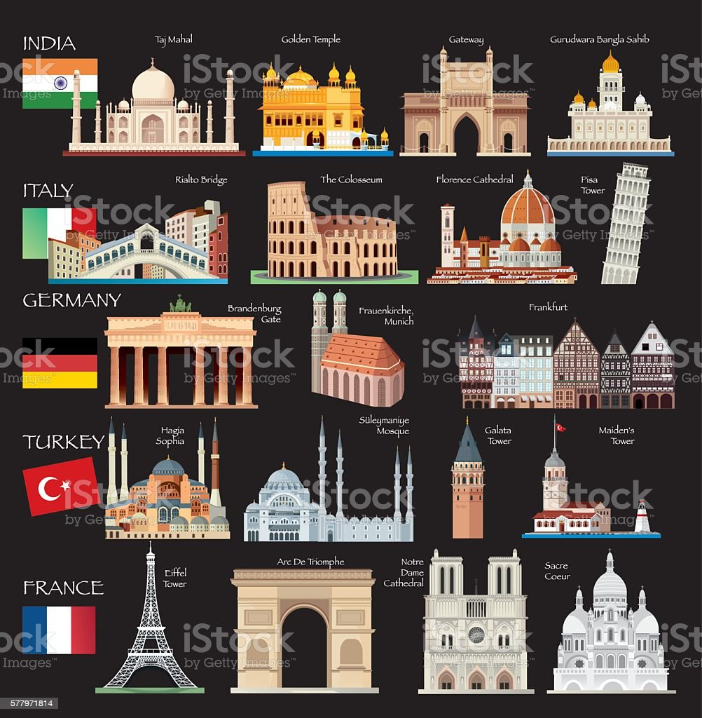 World Symbols vector art illustration