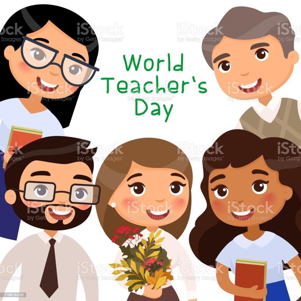 Cheerful teachers and pupils celebrating international holiday....