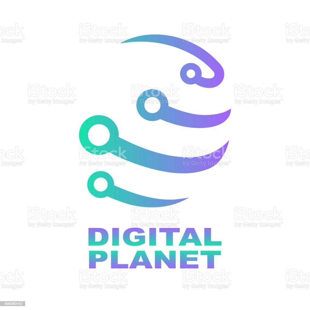 世界ハイテク ロゴ デザイン テンプレートですネットワークデジタル技術