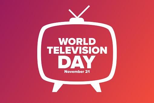 World Television Day. November 21. Holiday concept. Template for background, banner, card, poster with text inscription. Vector EPS10 illustration.