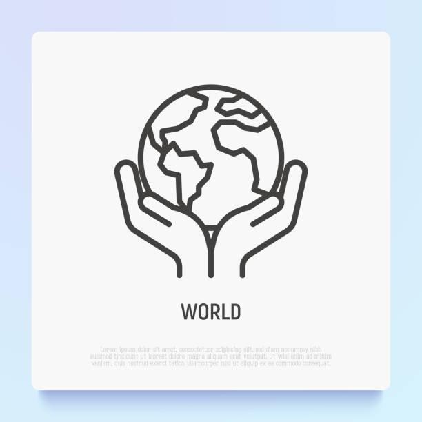 bildbanksillustrationer, clip art samt tecknat material och ikoner med världen tunn linje ikon: händer som håller globen. modern vektor illustration. - miljö
