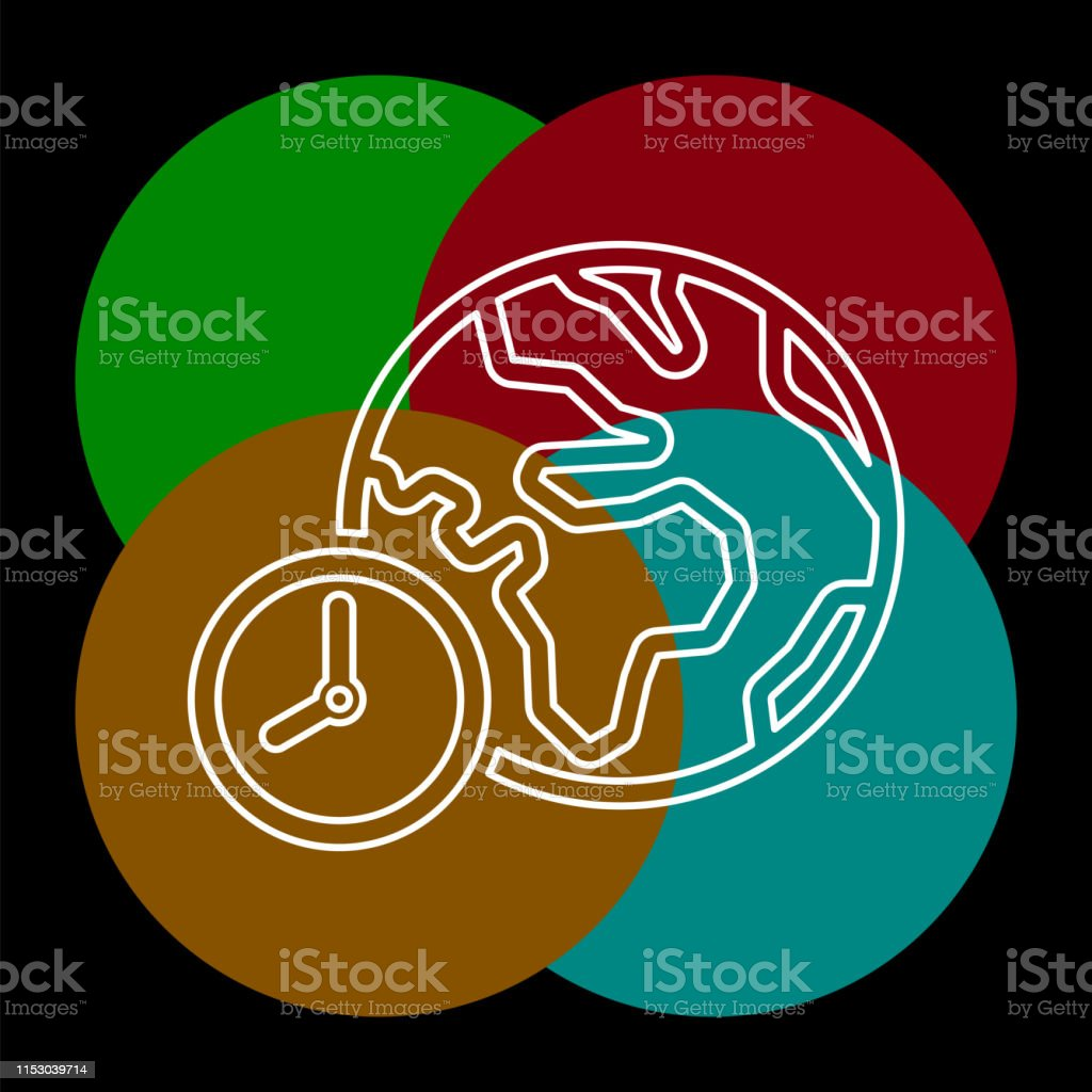 world time illustration, global time map zone symbol. Thin line...