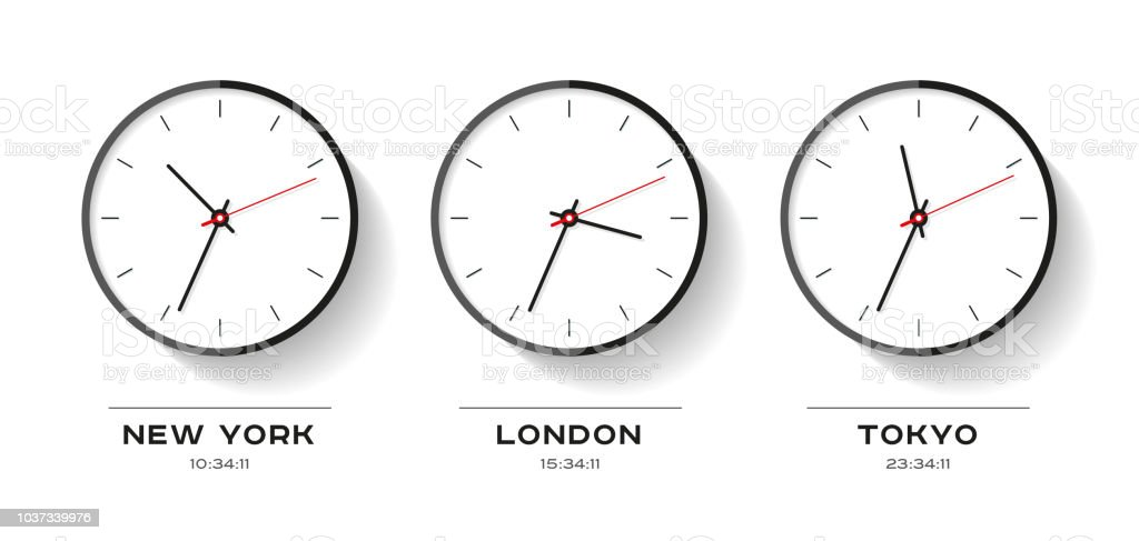 ワールド タイムフラット スタイルのシンプルな時計のアイコン