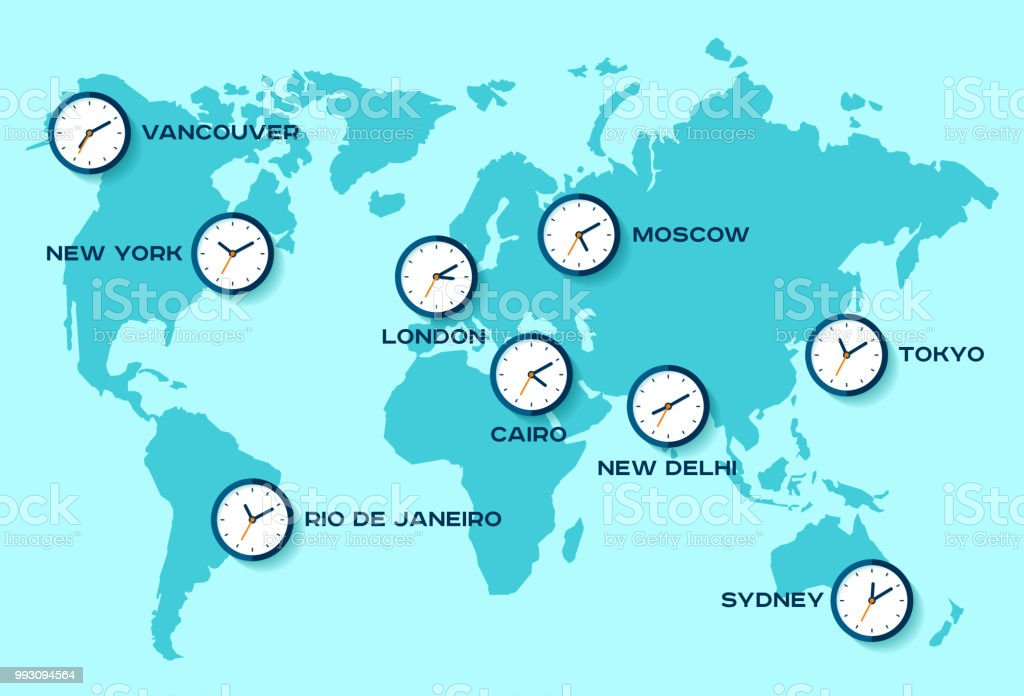 World Time Simple Clock Icons On World Map Objects In Flat ...
