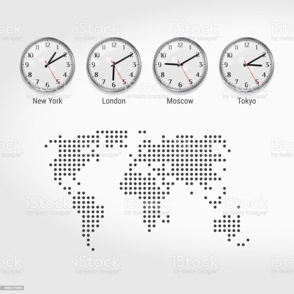 Weltzeit Zeitzonen Uhren Aktuelle Uhrzeit In Berühmten Städten ...
