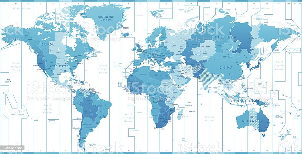 World time zones vector art illustration