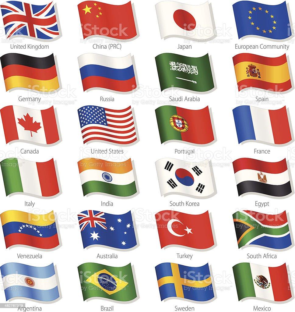 Top países do mundo Vector bandeiras nacionais - ilustração de arte vetorial