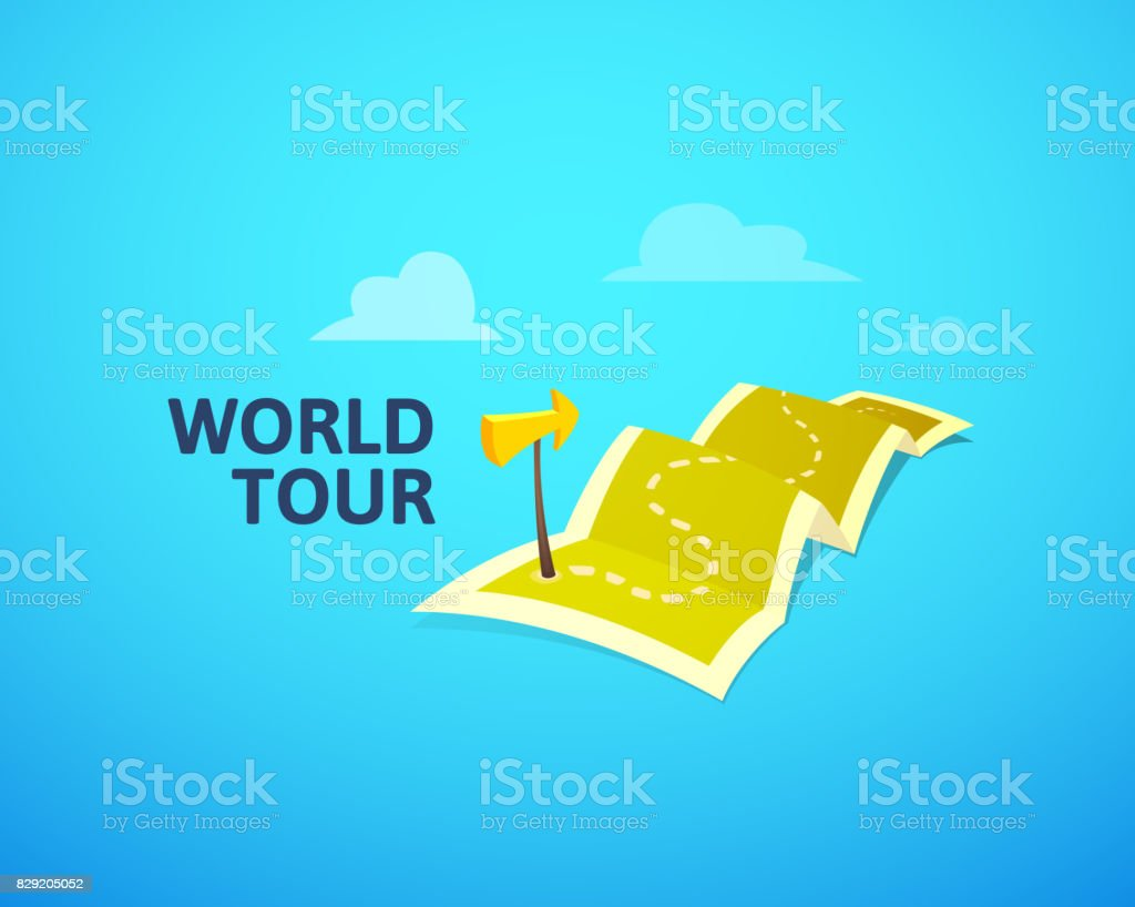 World tour concept symbol long route in travel map with guide marker world tour concept symbol long route in travel map with guide marker royalty free gumiabroncs Image collections