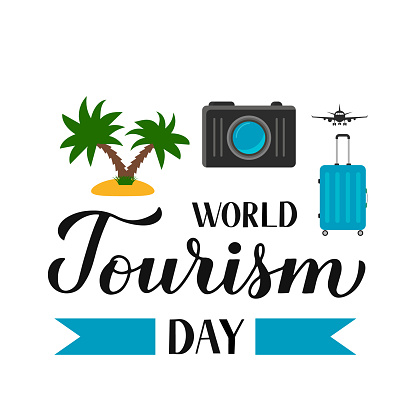 World Tourism Day calligraphy hand lettering. Vector template for typography poster, greeting card, postcard, banner, flyer, sticker, t-shirt, etc