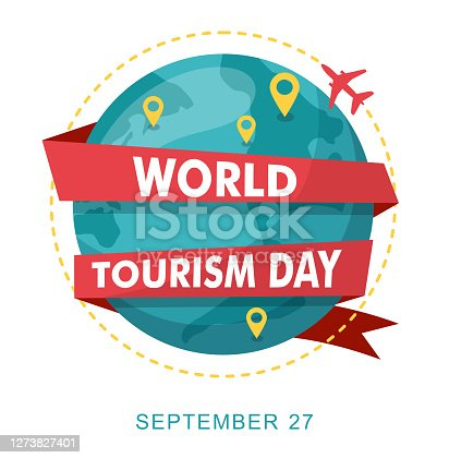 istock World Tourism Day. Planet earth with map. 1273827401