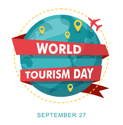 World Tourism Day. Planet earth with map. Vector illustration.