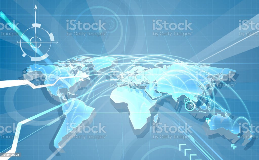 World Trade Globalisation Map Background vector art illustration