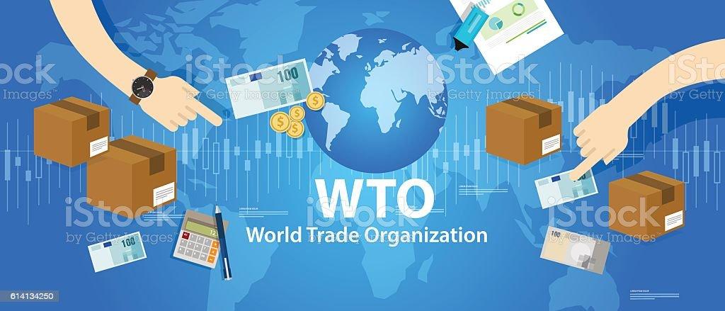 WTO World Trade Organization vector art illustration