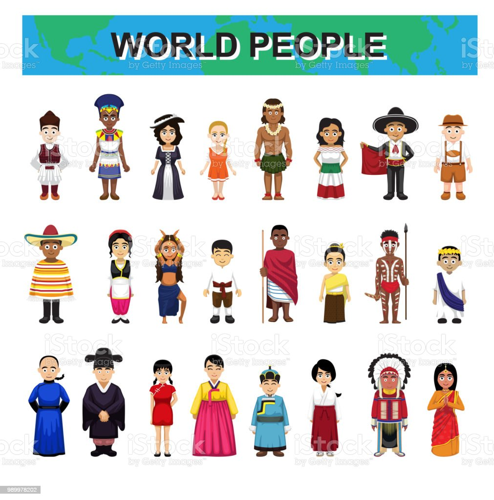 World Traditional People Costume Diversity Cute Characters Cartoon Set Vector Illustration vector art illustration