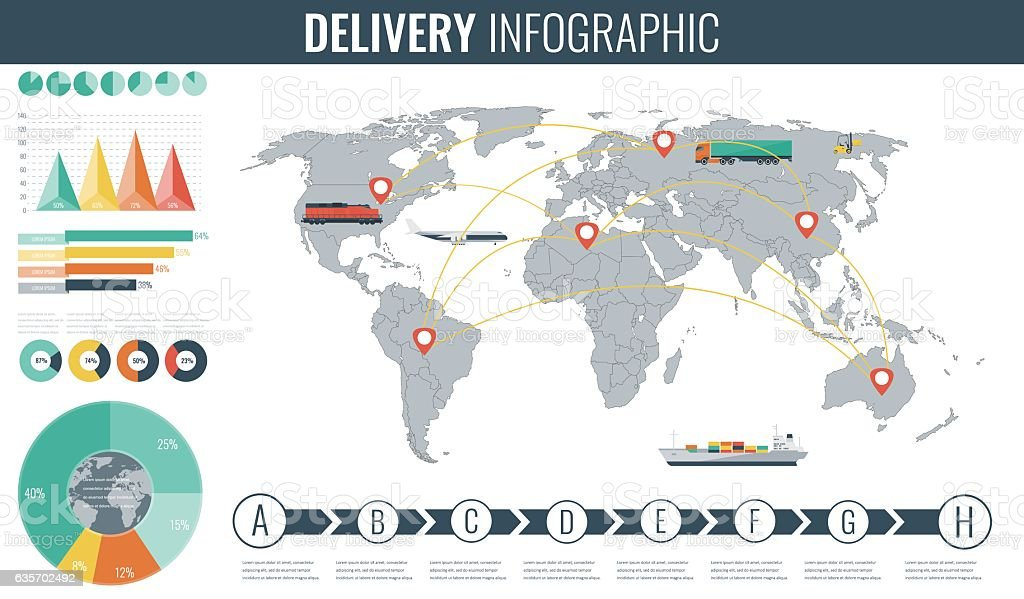 World transportation and logistics. Delivery and shipping infographic elements. Vector royalty-free world transportation and logistics delivery and shipping infographic elements vector stock vector art & more images of backgrounds