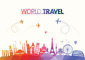 World Travel and Famous Landmarks Polygonal Concept