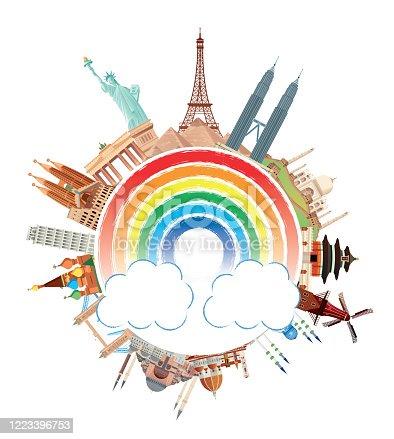 Vector World travel and rainbow