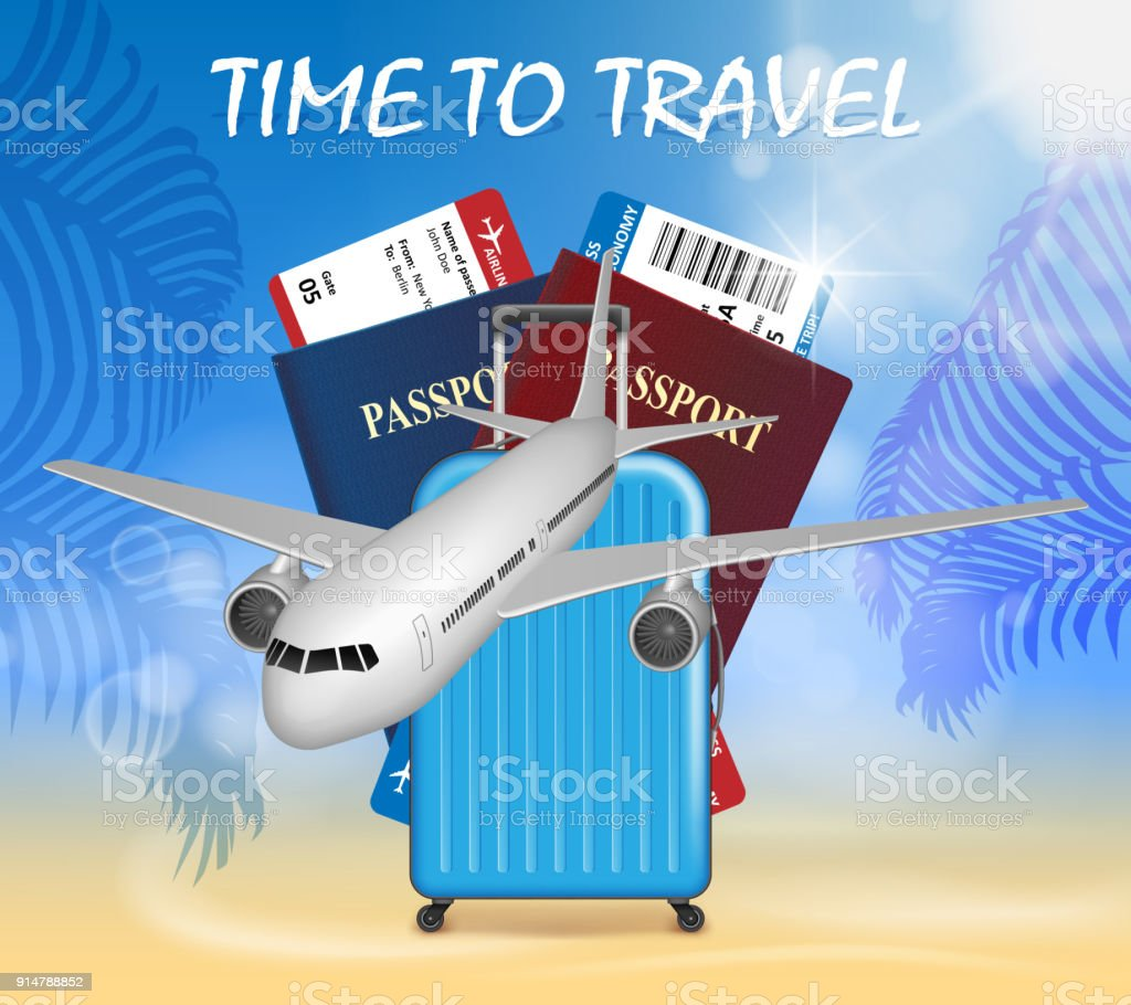 World Travel And Tourism Concept Banner In Theme With Airplane On Palm Beach Summer