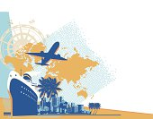 Travel elements with world map,airplane,palm trees,ship and cityscape.