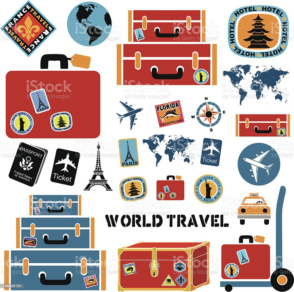 World travel design elements vector art illustration