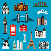 World travel landmark icons in flat style with architecture of France, United Kingdom, Greece, USA, Australia and Italy
