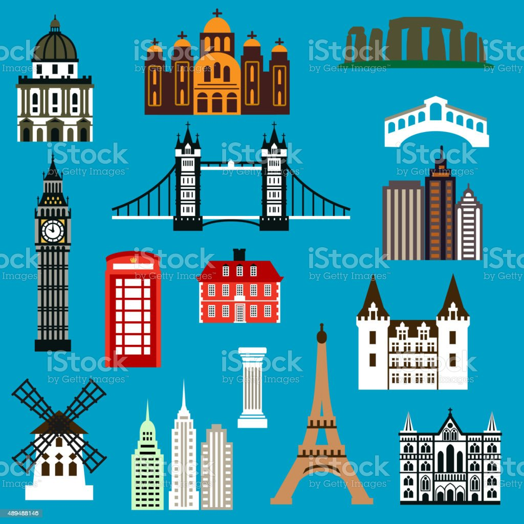 World travel landmark flat icons vector art illustration