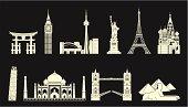 Highly detailed world travel landmarks set.