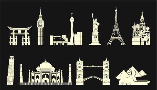 World travel landmarks set