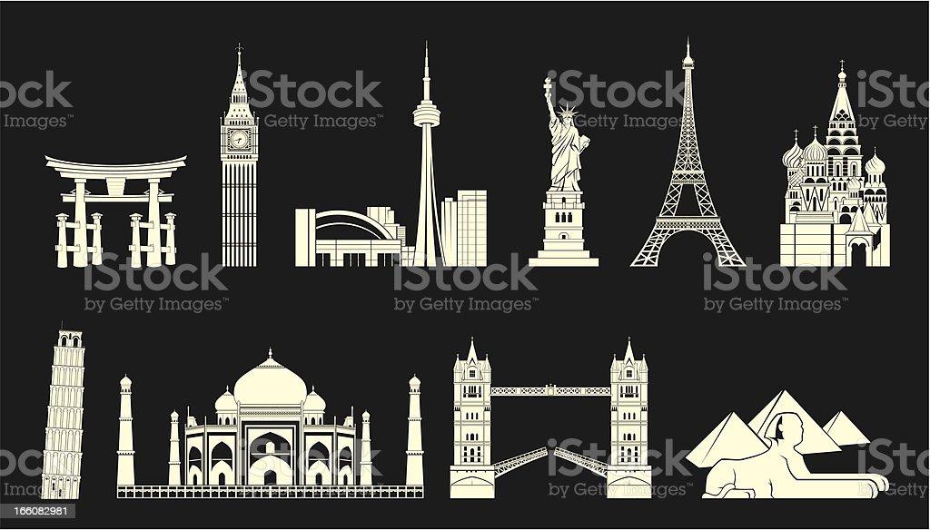 World travel landmarks set vector art illustration
