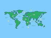 World travel map on blue background. Line art design. Vector illustration.
