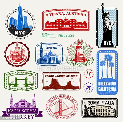 World Travel Passport stamps of Famous Travel Destinations. vector passport stamps include New York City, Vienna, Venice, London, Rome, Hollywood, LA, San Francisco, Italy and Turkey.