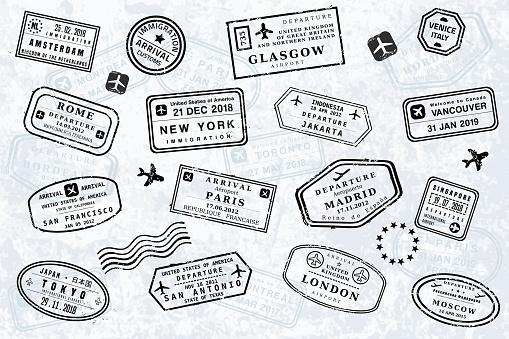 World travel passport stamps. Vector illustration old style visa passport stamp set. Novelty stamps (not official versions).