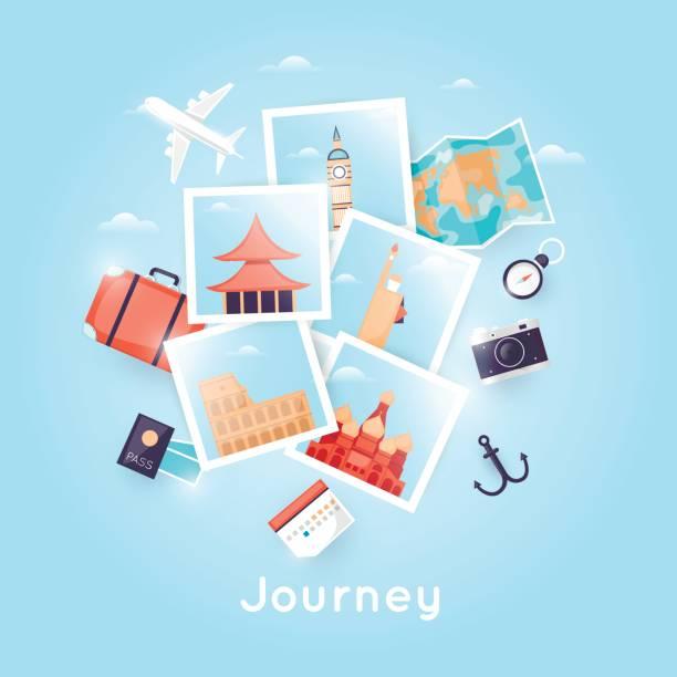 Welt zu reisen. Foto. Planung der Sommerferien. Urlaub, Reise. Tourismus und Urlaub Thema. Plakat. Flaches Design-Vektor-Illustration. – Vektorgrafik