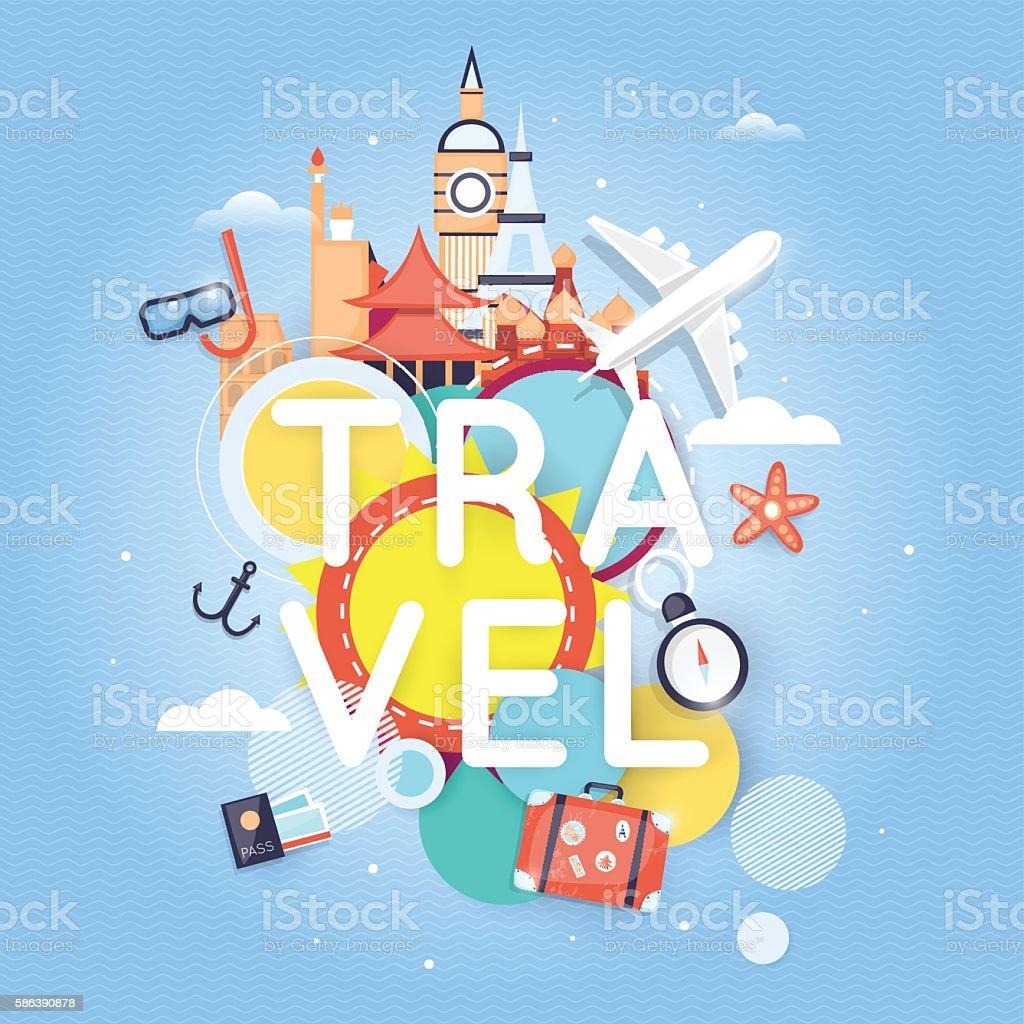 World Travel. Planning summer vacations. Summer holiday. – Vektorgrafik
