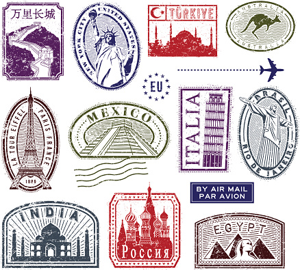 World travel rubber stamps