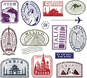 World travel rubber stamps.