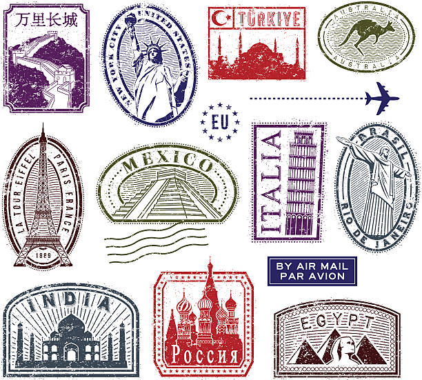 World travel-Briefmarken – Vektorgrafik