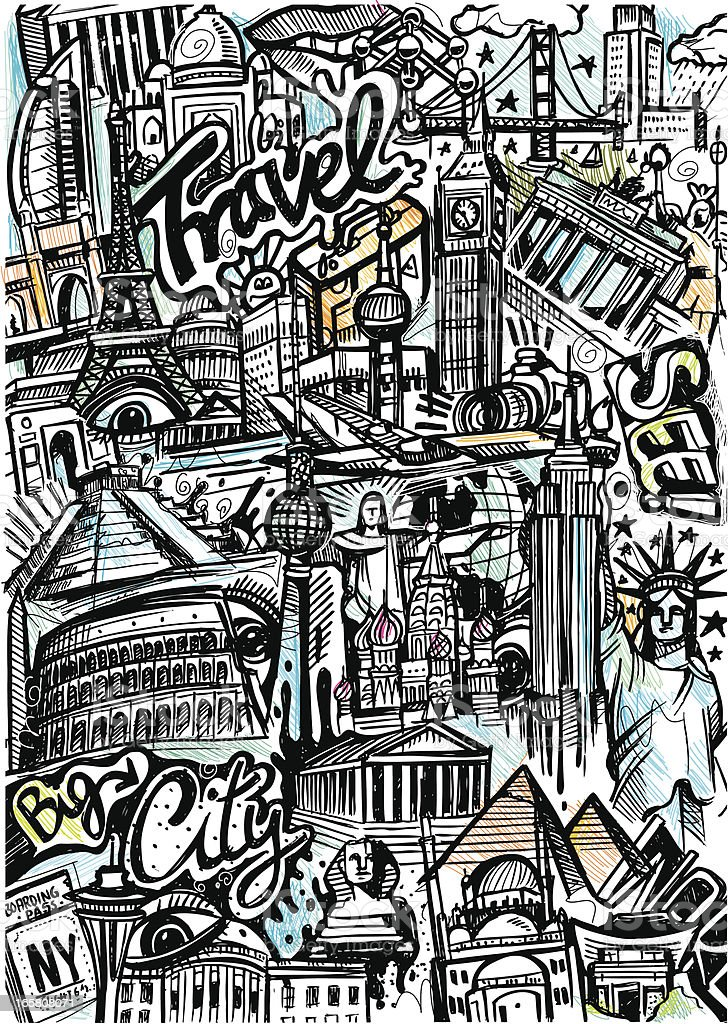 World Travel Skizze – Vektorgrafik