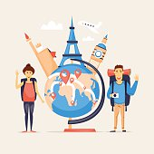 World Travel, summer vacation, tourism and journey, couple travels, traveling on airplane set of icons. Flat design vector.