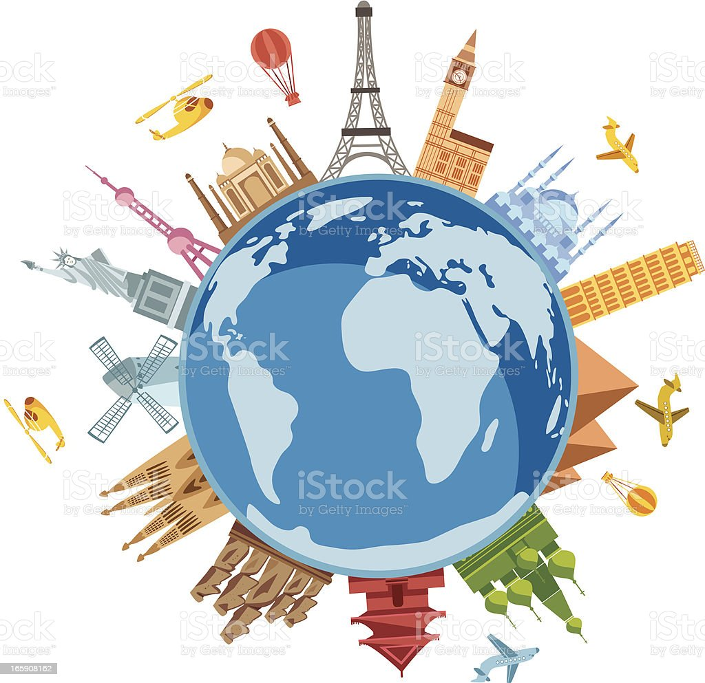 World Travel Symbols vector art illustration