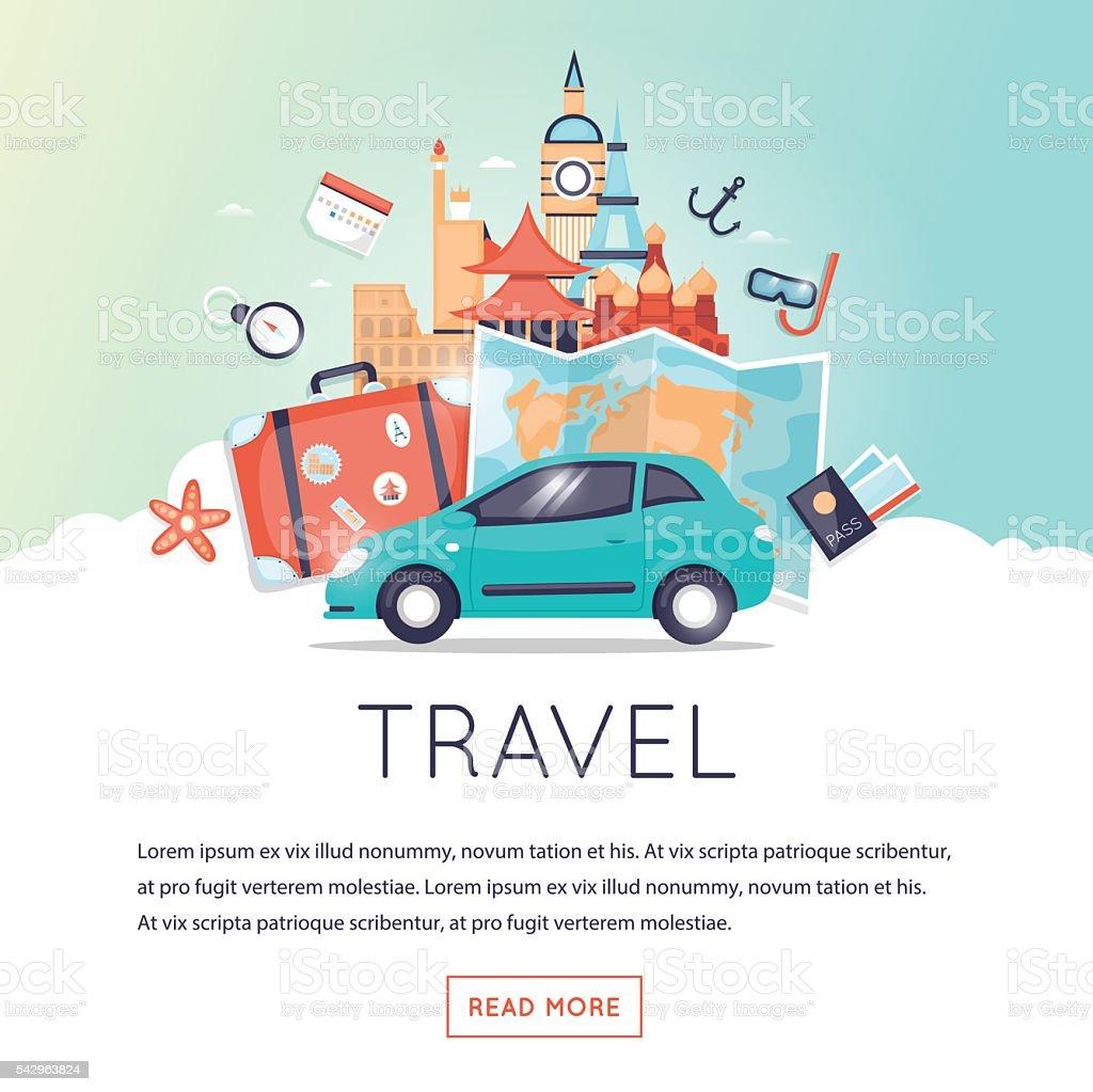 Welt reisen mit dem Auto reisen, Sommer Urlaub und Tourismus und Reisen. – Vektorgrafik