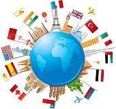 Vector illustration World Travel symbols